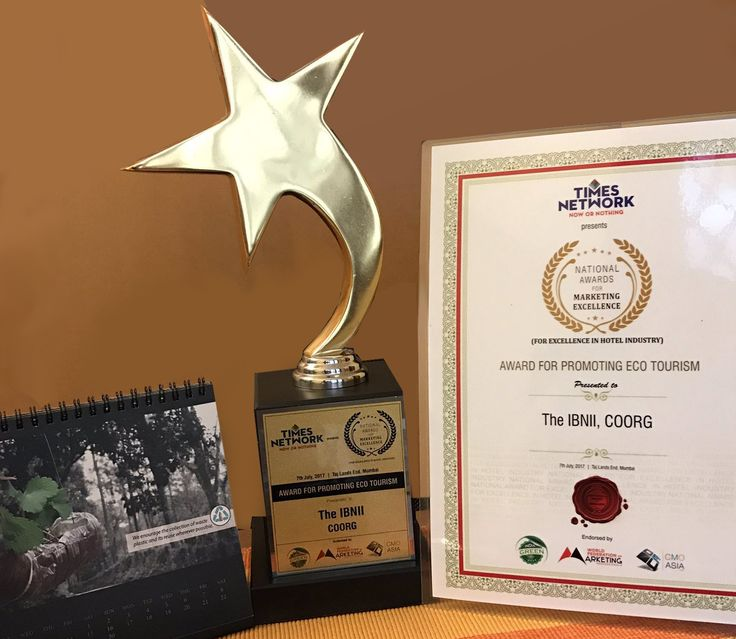 Another feather in our cap! This time for marketing excellence in promoting #ecotourism from Times Network #TheIbnii_Coorg #resort #ecoluxe
