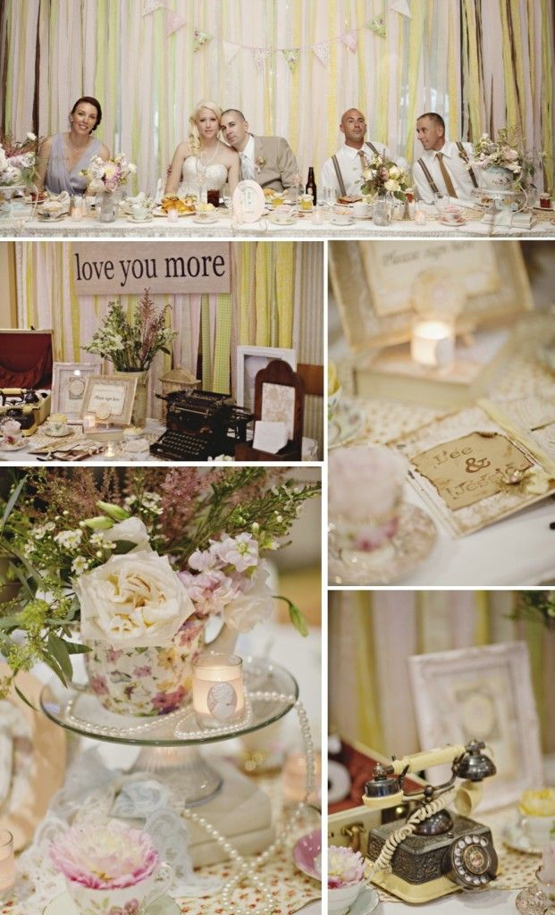 Fairytale Vintage Wedding at Hycroft Manor | A DIY crafters Dream | Kailey Michelle Events | Vancouver Wedding Planner, Designer and Stylist #wedding #reception #centrepiece #pastel #rose  #teapot #pearls #cameo #vintage #decor #design #signintable #bunting #weddingparty
