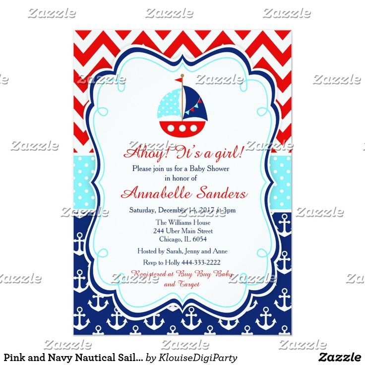 Pink and Navy Nautical Sailboat Baby Shower Card