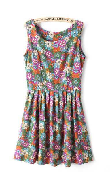 So Cute! Colorful Pleated Hem Sleeveless Floral Summer Dress #Floral #Summer #Fashion