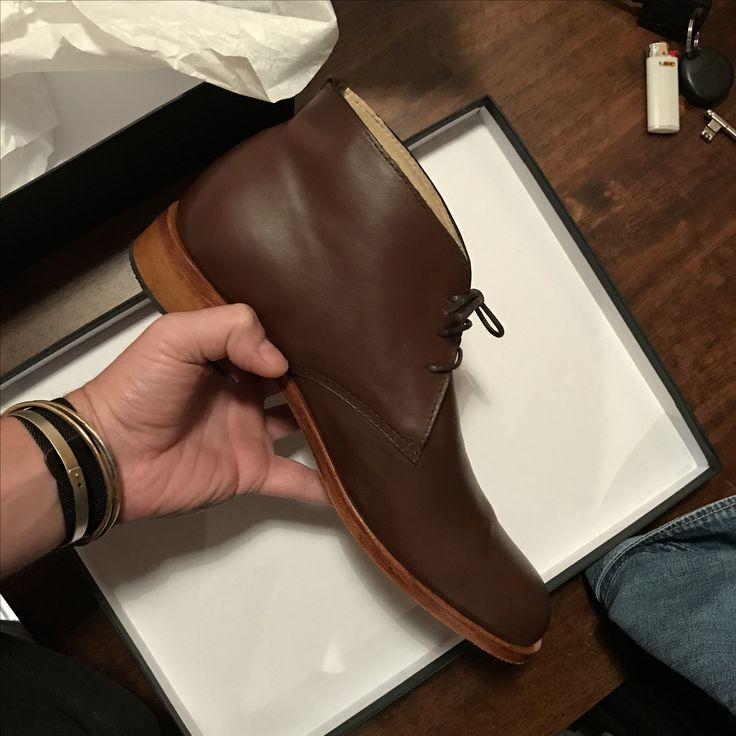 Handmade men leather brown desert boots Greece