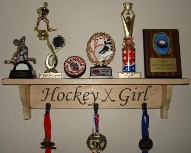 Hockey Shelves, Hockey Trophy Shelf, Painted Pastimes