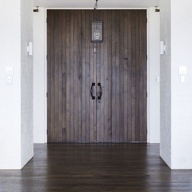 Vintage Smoked | Love this! Large double entrance doors with our Vintage Smoked flooring & white brick walls