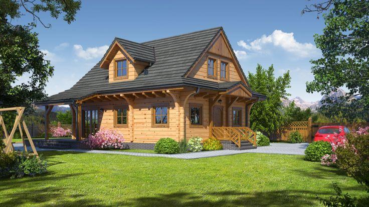 DOM PK5-41 - Dom z poddaszem użytkowym. Parter to duży salon z miejscem na jadalnię, kominkiem i wyjściem na częściowo zadaszony taras