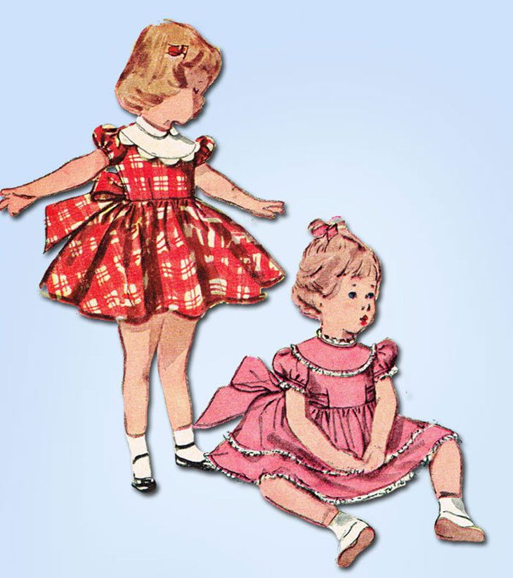 1950s Vintage Simplicity Sewing Pattern 4480 Toddler Girls Party Dress SIze 3 #Simplicity #DressPattern