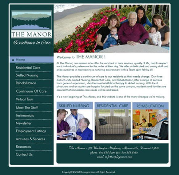 proposed web design for a senior health care