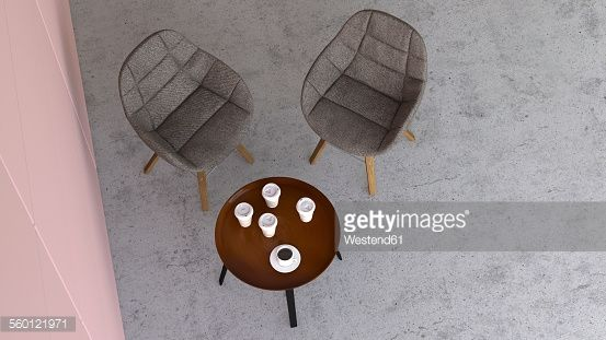 Stock Illustration : Waiting area with two chairs and a side table, 3D Rendering
