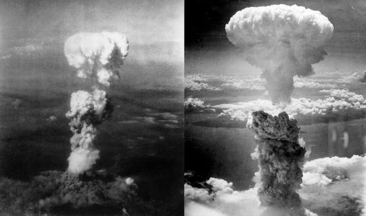 Vista aérea de Little Boy (à esquerda) e Fat Man (à direita) sobre Hiroshima e Nagasaki, respectivamente. A Segunda Guerra Mundial terminou pouco tempo depois das detonações