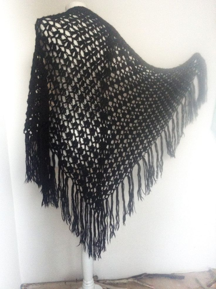 Absolutely Killer Black Extra Large Crochet Shawl with Long Fringes .So gypsy!Triangle Shawl ,Beautiful and Unique Weave .Bohemian style . by VintageVanillaShop on Etsy