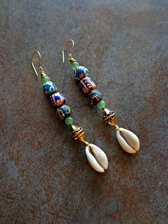 MultiColor African Trade Bead Earrings by Khepera Adornments