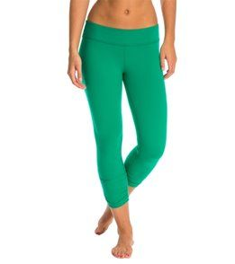 Beyond Yoga Essential Gathered Yoga Capris - Bright Emerald - XL