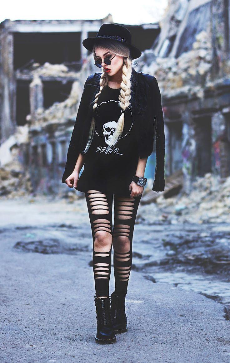 Skull Survival T-Shirt, Ripped Leggings, Round Sunglasses & Dr Martens Boots