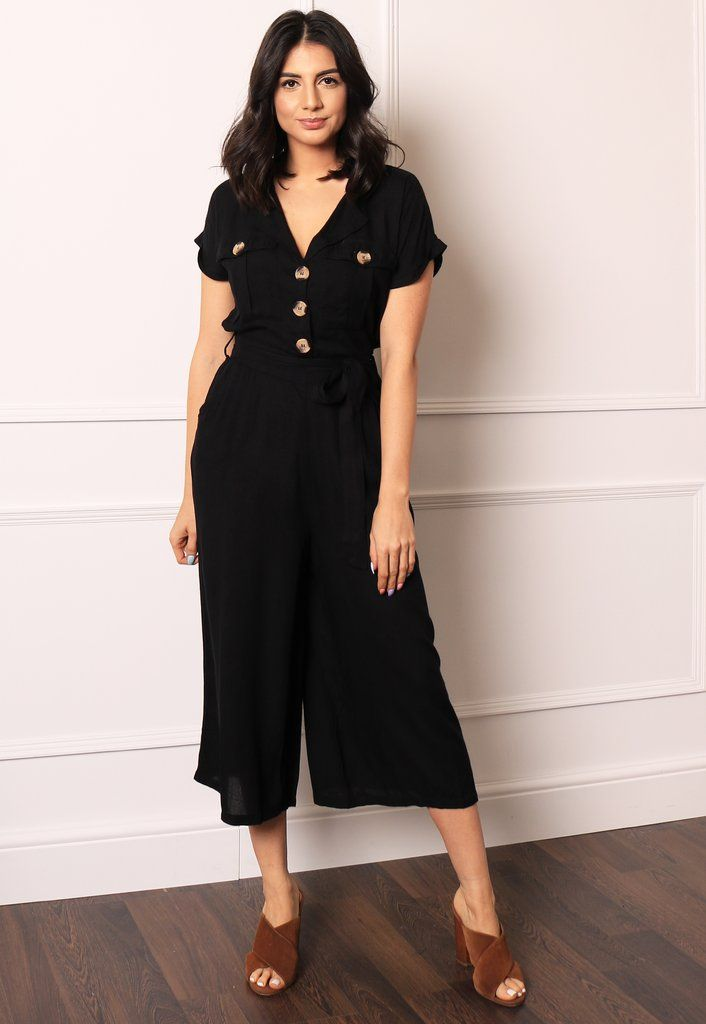 03e303fbd26 Short Sleeve Belted Utility Boiler Suit Jumpsuit with Cropped Wide Cul – One  Nation Clothing