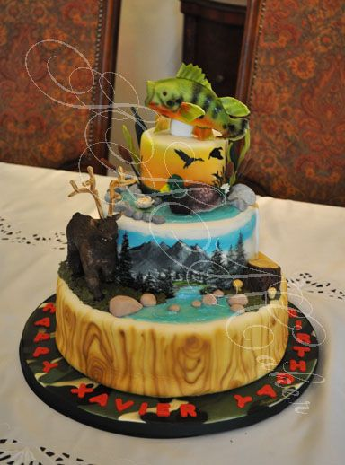 Hunting Cake - This incorporated the birthday boy's loves:  hunting elk, mallards and fishing.