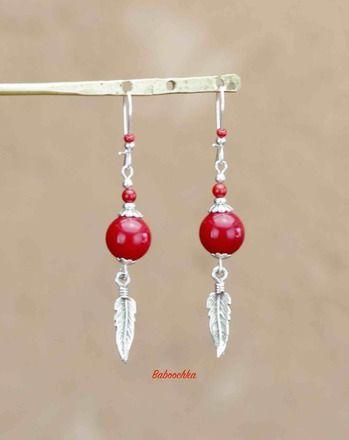 Boucles d'oreilles montées avec des crochets fils fermants ornées de perles en argent 925 ( 2 mm ), de perles de rocaille Miyuki rouges mat ( 2 mm ) des perles de corail végéta - 18789488