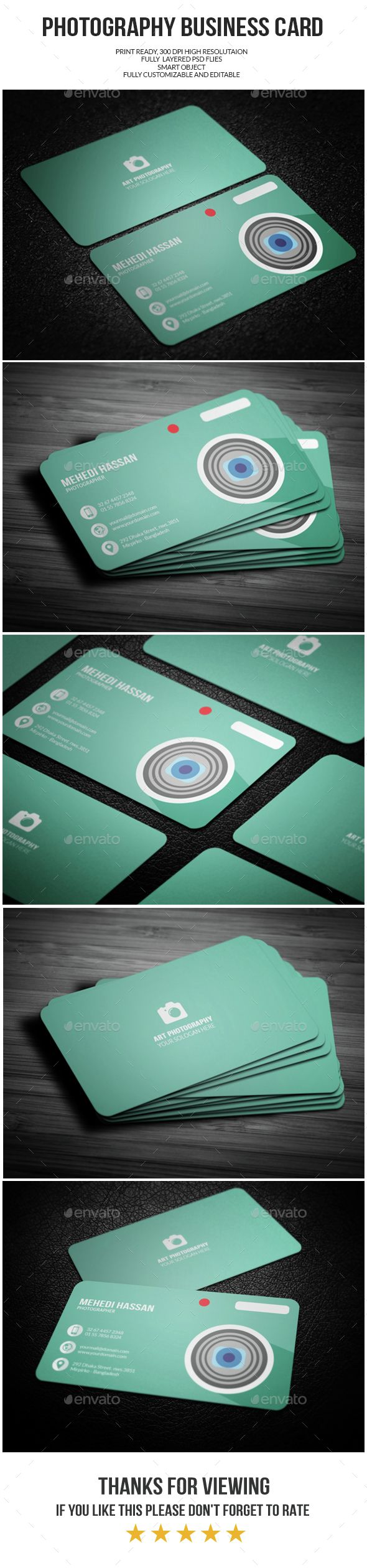 Photography Business Card Template PSD #design Download: http://graphicriver.net/item/photography-business-card/14484000?ref=ksioks
