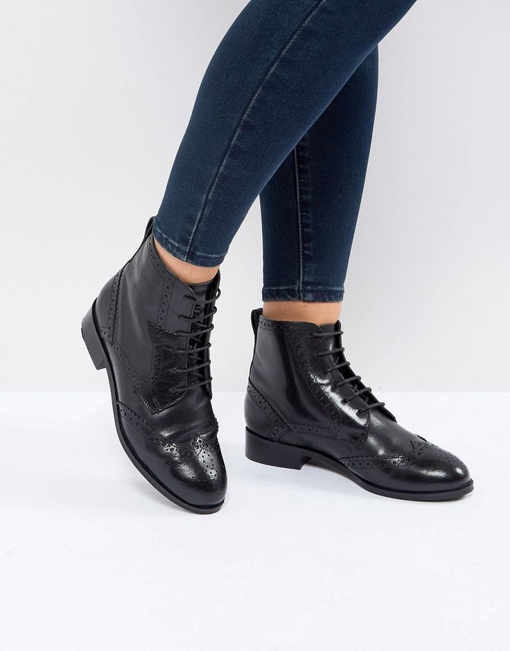New Look Leather Lace Up High Brogue Boot - Black