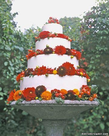 Red Wedding Cakes - Dahlia Cake