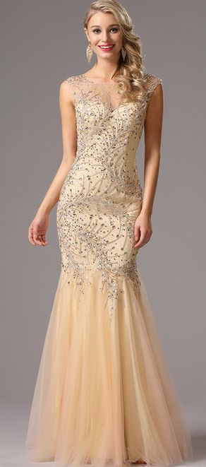 Gorgeous Beaded Beige Prom Dress