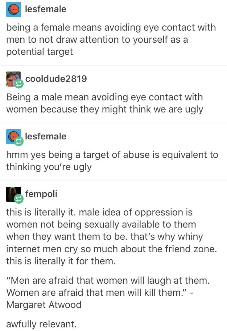 Because a woman thinking you are ugly is definitely the same as a woman thinking she might be assaulted...