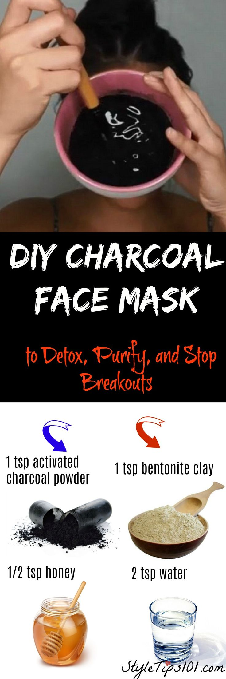 1 tsp bentonite clay  1 tsp activated charcoal powder  2 tsp water  1/2 tsp raw honey  1 drop essential lavender oil & 1 drop tea tree essential oil via @styletips1o1