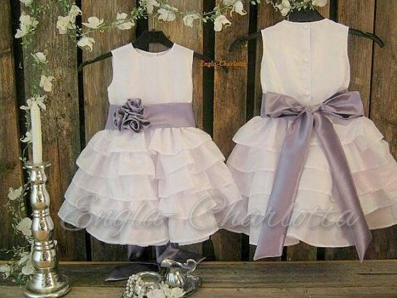Girls special occasion dress. White flower girl dress, purple sash. Girls party dress. Country flower girl ruffle dress. White toddler dress