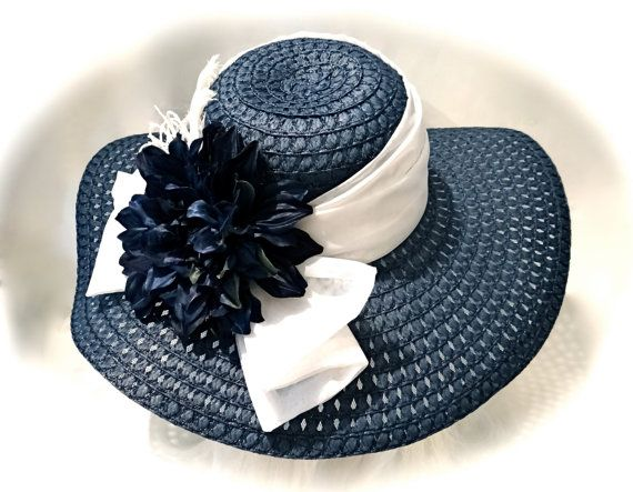 Navy & White Derby Hat Sun Hats Garden Party by Marcellefinery