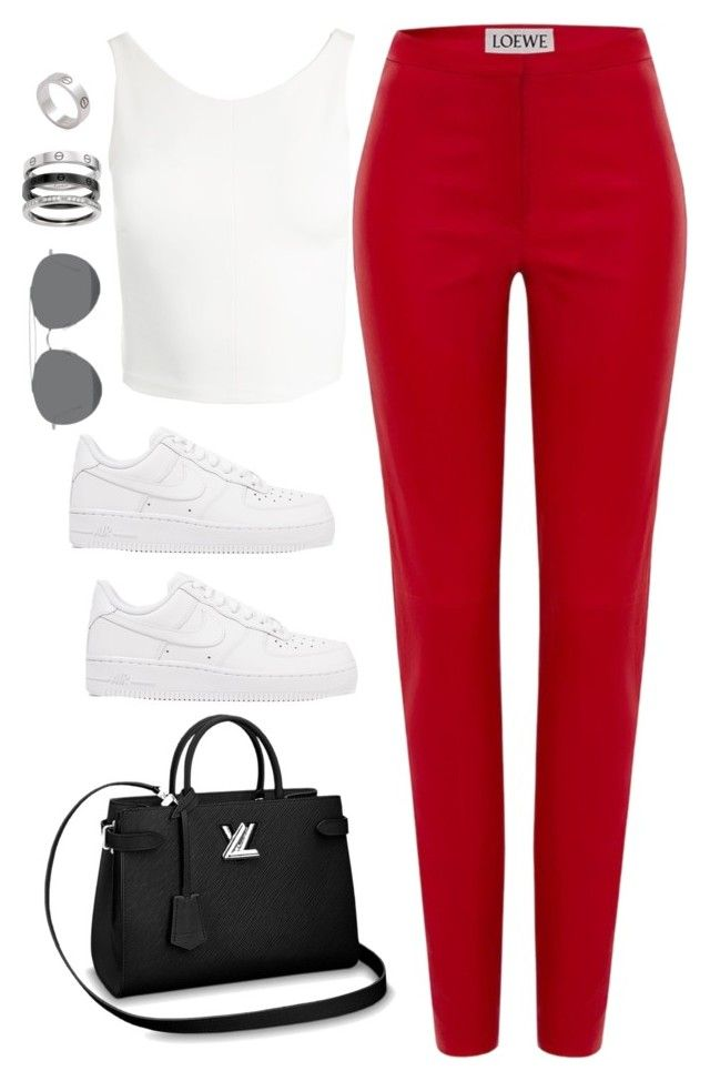 """""""Untitled #4356"""" by magsmccray on Polyvore featuring Loewe, Sans Souci, NIKE, Cartier and Gentle Monster"""