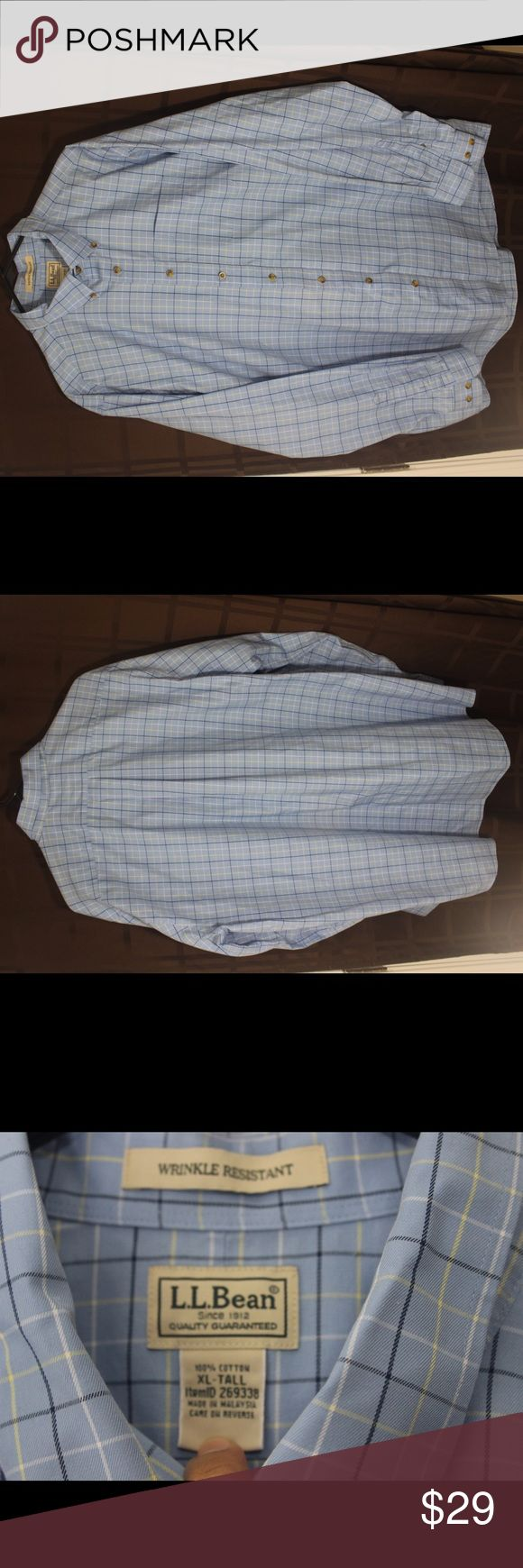 L.L.Bean wrinkle Resistance blue check XLT Shirt You Are Buying L.L.Bean wrinkle Resistance blue check XLT Shirt  It is in great pre-own Condition.  Fast shipping in the USA via USPS.  FEEDBACK: we strive to earn positive 5 star feedback for all items. And we will leave the same for all good buyers.  If you feel we deserve anything less please send us a message before leaving anything less or opening a case and we will fix the issue within 24 hours.   Thank you!!! L.L. Bean Shirts Dress…