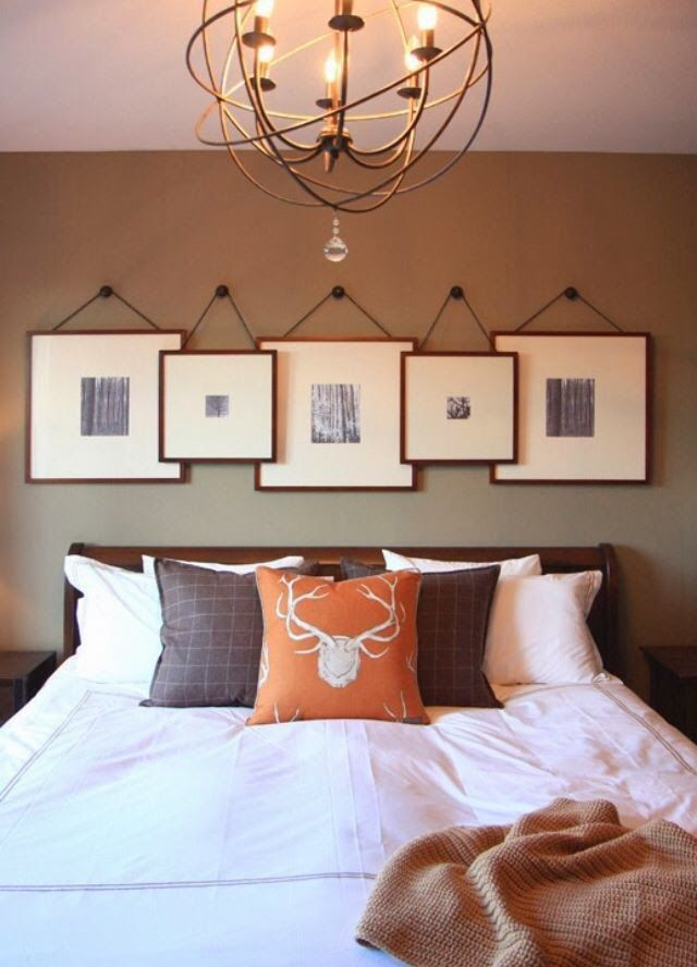 The overlapping of the picture frames gives the rood added depth and texture