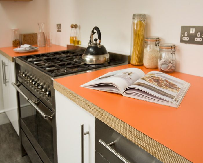 Zingy Orange Formica And Birch Ply Kitchen Worktop