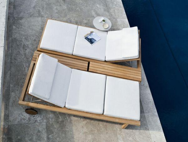 sonnenliege auflage weiß teakholz beton gartenmöbel set aus teak