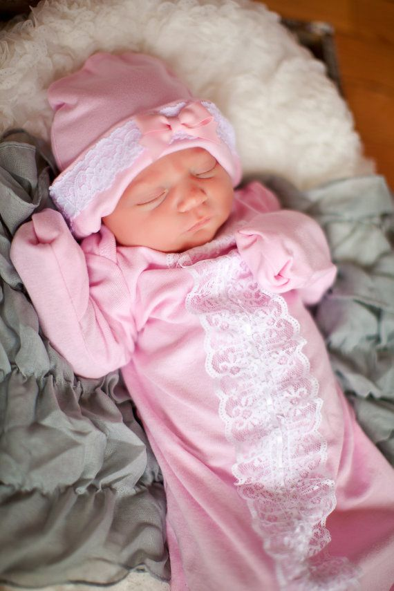 Newborn Layette Gown and Hat, Lace and Cotton Newborn Gown, Newborn Infant Layette Gown, Infant Gown, Baby Shower Gift, Take Home Outfit on Etsy, $40.00