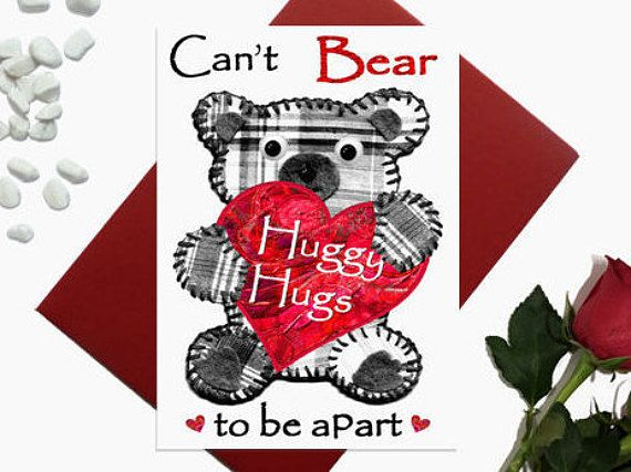Valentine's day card  Bear  Huggy Hugs  Birthday card