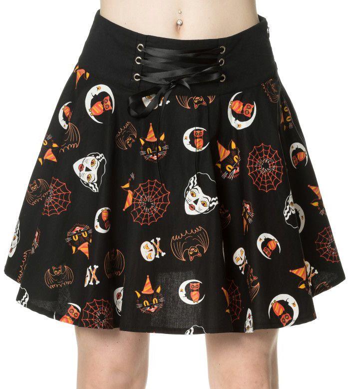 Falda Gótica The Haunted  #halloween #spooky #gothic #falda #skirt #cat #gato #spider #araña #murcielago #bat #xtremonline