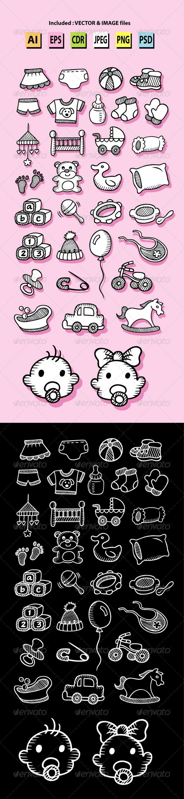 Set of Baby Icon Sketches #GraphicRiver 33 baby and kid icons hand drawing. Good use for your web icons, symbol, logo, baby shop design, or any design you want. Easy to use, edit or change color. ZIP included : AI CS cmyk, EPS8 rgb, CDR coreldraw (Vector files = You can use any size you want without loss resolution), JPEG rgb high resolution, PNG transparent, and PSD photoshop file. Object icons :