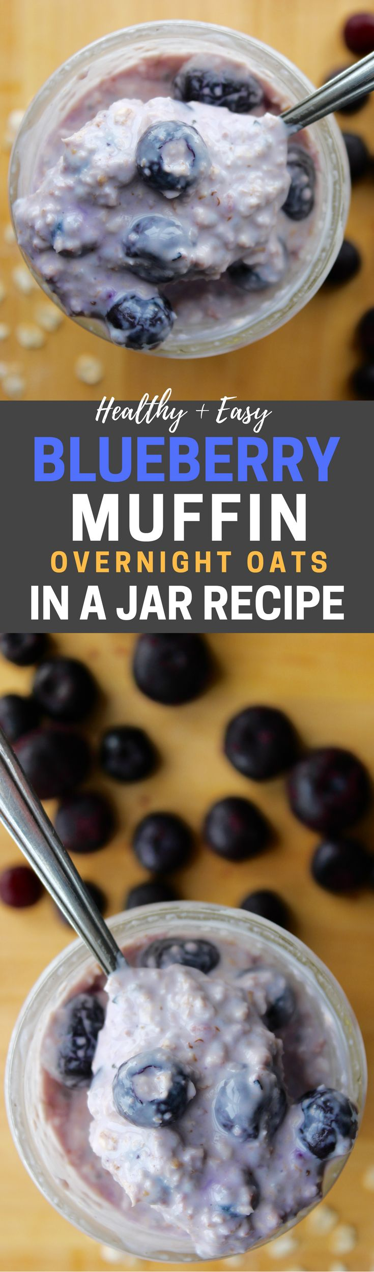 Healthy and Easy Blueberry Pie Overnight Oats In A Jar Recipe! This is one of my favorite overnight oatmeal recipes, and it's such a fantastic healthy breakfast idea. Plus, it's low in calories, and this recipe has 10g of protein so it's great for Weight Watchers too.