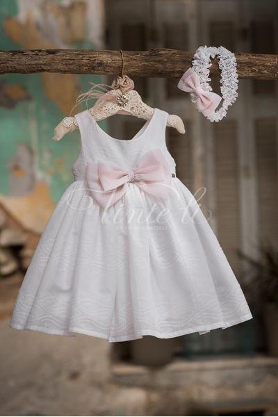 275d311f1734 Λευκό βαμβακερό φόρεμα Βάπτισης της Vinte Li μαζί με ασορτί κορδέλα για τα  μαλλιά