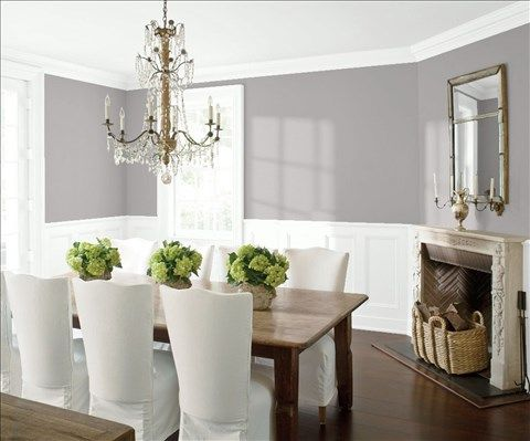 Look at the paint color combination I created with Benjamin Moore. Via @benjamin_moore. Wall: Stormy Monday 2112-50; Trim & Wainscot: Distant Gray 2124-70; Ceiling: Distant Gray 2124-70.