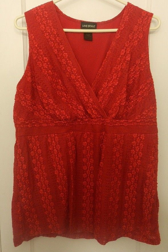 Layne Bryant Red Embroidered Lace Sleeveless Tunic Blouse Adult Plus Size 2X #LaneBryant #Pullover