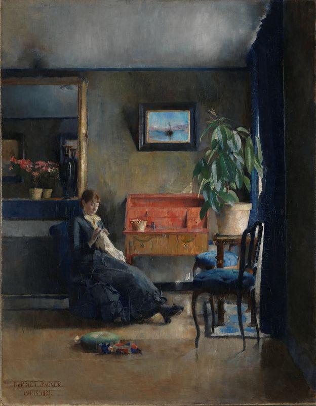 1883. Olje på lerret - Harriet Backer, Blue Interior