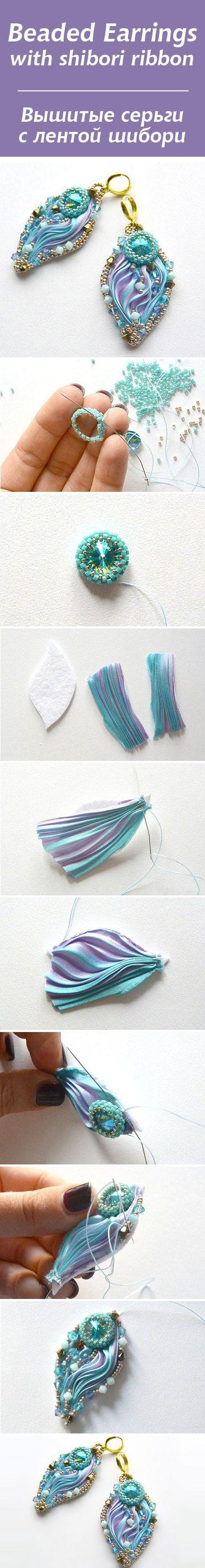 Earrings with Shibori silk ribbon tutorial | Мастер-класс: вышитые серьги с лентой шибори