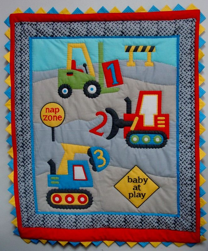 Fun Construction baby quilt.