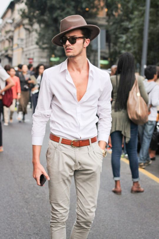 Look Sharp with these Mens fashion street style. white shirt and hat. #menstyle #mensfashion