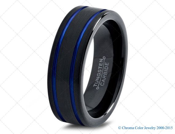 mens wedding bandblack blue tungsten ringblack wedding bandscolored rings - Wedding Rings Black