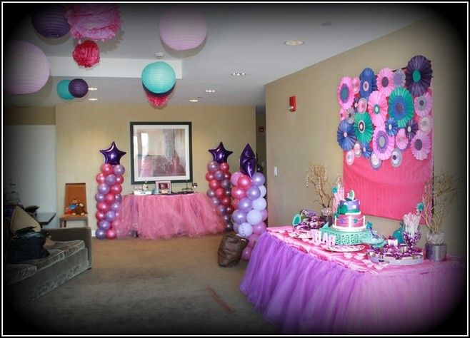 Turquoise And Purple Baby Shower Decorations (658×