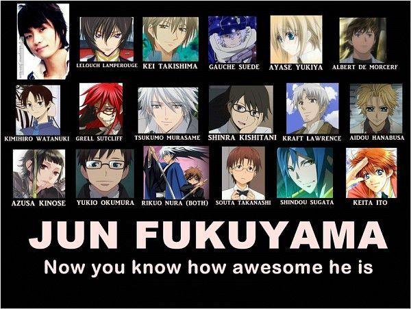 Jun Fukuyama ( Liberta (Arcana Famiglia), Lelouch  Lamperouge) (Code Geass), Misaki (K), Keiichi (Kiniro No Corda), Grell (Kuroshitsuji), Kei (Special A), Hanabusa (Vampire Knight), Kimihiro Watanuki (XxxHolic), Vincent Nightray (Pandora Hearts) ), Kin'iro no Corda (Keiichi Shimizu), Zelman Clock (Black Blood Brothers), Mizuiro Kojima, Yumichika Ayasegawa (Bleach) )