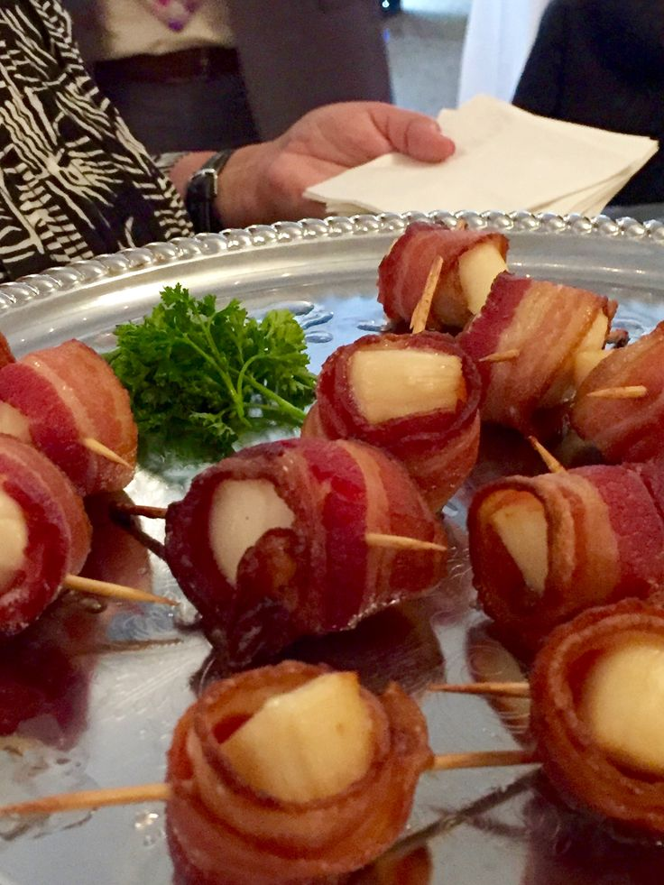 Maine scallops wrapped with applewood smoked bacon