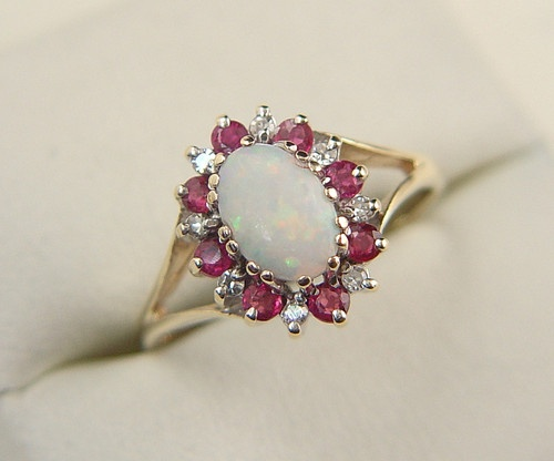 Exceptional Ruby Diamond And Opal Cluster Ring 9ct Gold