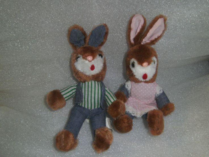 Vintage Russ 1978 - Timmy & Tammy Bunny Rabbit Soft Toys - 9  H